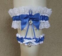 wedding photo - Follow Your Heart Garter Set Choose Your Charms Be True Love Filigree Double Hearts Lock and Key Royal Blue & White for Wedding or Prom
