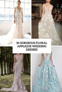 wedding photo - 30 Gorgeous Floral Applique Wedding Dresses - Weddingomania