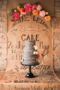 wedding photo - Chalkboard Wedding Shoot With Colorful Florals - Weddingomania