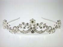 wedding photo - Wedding Tiara - Pearl and Crystal Tiara - Georgina Bridal Tiara with Rhinestones and Pearls - Bridal Headpiece - Wedding Accessories