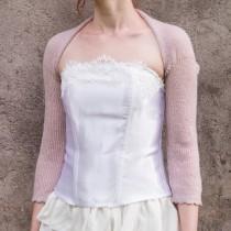 wedding photo - Pink Wedding bolero Dusty Pink Bridal Bolero jacket cover up knit Bridesmaids bolero shrug Bridal sweater evening bolero wedding cape gift