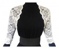 wedding photo - Ladies Ivory or white Lace Bolero/Shrug 3/4 Sleeve in Sizes UK 8,10,12,16 or 18