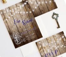 wedding photo - Barn Wedding Invitation - Wood Mason Jar Wedding Invitation {Roslyn dark version}