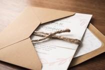 wedding photo - Rustic Letterpress Wedding Invitation