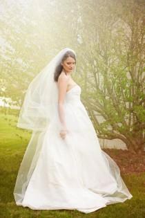 wedding photo - Cathedral Wedding Veil - Bridal Veil - Drop Veil  With Sheer Organza Ribbon Edge - Simple Veil - Champagne Veil - Naples