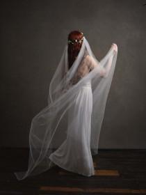 wedding photo - Add a veil to any crown - bridal veil, wedding veil, cathedral length veil, veil comb, wedding headpiece, vintage veil, boho rustic wedding