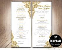 wedding photo - Gold Wedding Program Template DI, Instant Download Elegant Wedding Program,Lace Wedding Program,Printable Wedding Program