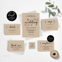 wedding photo - Romantic Rustic Wedding Invitation Template, Wedding Invitation Printable, Invitation Set, Cheap Invitation, DIY PDF Instant Download #E017