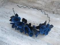 wedding photo - Dark flower headband Wedding crown Flower hair wreath Whimsical wedding tiara Gothic accessories hydrangea flower crown dark hair accessory