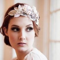 wedding photo - Vintage Milliner's Velvet Leaf Bridal Headdress