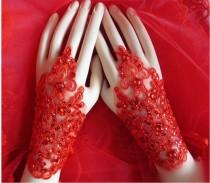 wedding photo - Fashion Bridal  diamonte -Rhienstone & sequins gloves.Soft Lace Wedding Fingerless Bridal Gloves.  Red  bridal gloves