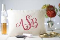 wedding photo - Monogram Makeup Bag, Wedding Cosmetic Bag, Bridal Makeup Bag, Natural Canvas Cosmetic Storage, Makeup Traveling Pouch, Gift for Brides,
