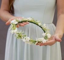 wedding photo - Baby's breath flower crown, bridal flower crown, flower crown wedding, baby's breath headband