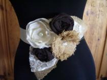 wedding photo - Burlap Wedding Dress Sash Burlap Bridal Sash Wedding Belt Brown Ivory Bridesmaid Sash Flower Girl Rustic Barn Vintage Wedding, Custom Colors