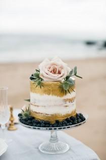 wedding photo - Brushed Gold Semi-naked Cake - Cake Couture NI