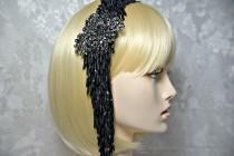 wedding photo - Great Gatsby Headpiece, GATSBY Headband, Art Deco 1920s Roaring 20s BLACK BEADED,  Flapper Gatsby wedding, Gatsby accessories, dress party