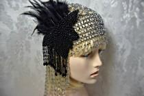 wedding photo - GREAT GATSBY HEADPIECE Flapper 1920s Roaring 20s silver beaded headpiece with fascinator great gatsby wedding gatsby accessories dress party