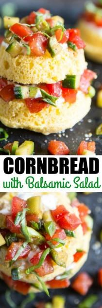 wedding photo - Cornbread Cakes With Balsamic Tomato Salad