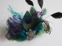 wedding photo - Peacock Feather Wedding Fascinator, Teal Blue Bridal Head Piece, Purple Feather Hair Piece, Masquerade Wedding, Dance Costume, Accessory