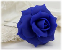 wedding photo - Blue Rose Hair Clip Pin - Blue Hair Flower