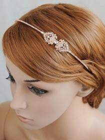 wedding photo - Rose Gold Bridal Headband, Wedding Headband, Crystal Filigree Headband, Vintage Style Bridal Hairband, Bridal Hairpiece, Hair Jewelry, GRACE