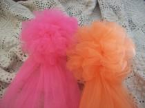 wedding photo - OVER 20 COLORS, Tulle Pom, Quinceanera, Pew Bows, Tulle Wedding Decor, Chair Hangers, Aisle Decor, Church Decor, Baby/Wedding Showers