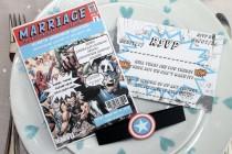 wedding photo - Vintage Marvel/DC Comic Book Wedding Invitation Set SAMPLE