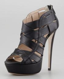 wedding photo - Halle Caged Platform Bootie, Black