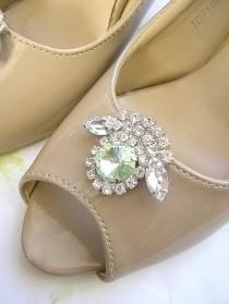 wedding photo - Mint green wedding Shoe Clips, bridal Shoe Clips, Swarovski Crystal shoe clips, vintage style shoe Jewelry ,Sparkling Shoe accessories