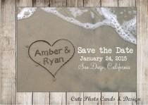 wedding photo - Beach save the date postcard. Printable. Save the Date for beach wedding. Printable postcard. Names in sand postcard. JPG or PDF file.
