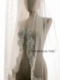 wedding photo - Custom Bridal Veil, Lace Veil, Vintage Rose Lace Bridal Veil, Lace at Chest , Single Tier Lace Veil, Fingertip, Waltz, Floor, Chapel, Cathed