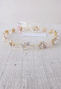wedding photo - Swarovski Bridal Halo Headpiece - Clear Crystal in Gold Crown Headpiece for wedding, bridal and proms. Style #004