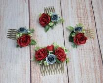 wedding photo - Red rose flower comb Bridal hair comb Wedding hair piece Bridal hair acccessories Bridal hair piece Bridesmaid hair comb Flower girl comb