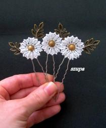 wedding photo - Bridal hair pins, set of3 bridal hair pins, wedding hair accessories, blossom pins, wedding hair pins, daisies pins, flowers pins