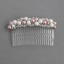 wedding photo - Dusky Pink Hair Comb - Blush Pink Pearl and Stardust Head Piece - Powder Rose Bridesmaid Gift- Wedding Accessories - Bridal Party Fascinator