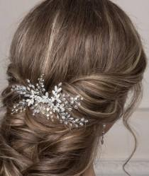 wedding photo - Bridal hair comb  Bridal hair accessories  Wedding hair piece Bridal headpiece  Crystal hair comb Floral hair piece  Rhinestone headpiece