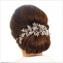 wedding photo - Bridal Hair Comb, Gold or Silver Wedding Comb, Rhinestone Headpiece, 18K Gold Plated Rhinestone Headpiece, Hair Jewelry, Vintage Style, Cb3
