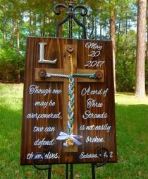 wedding photo - Wood Cross, Unity Braids®, Rustic Wedding, Cord of Three Strands, Wedding Ideas, Love, Gods Braids, Wall Decor, Sign, Christian Cross Braids