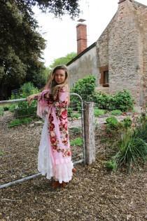 wedding photo - Boho Bridal Velvet Robe - Bridal Party Silk Kimono Robes - Silk Bridal Kimono - Silk Bridesmaid Kimono Robe - Bridal Gypsy Kimono Robe