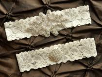 wedding photo - Wedding Garter Set, Bridal Garter Set - Ivory Lace Garter, Keepsake Garter, Toss Garter, Crystal Embellishment Ivory, Ivory Wedding Garter