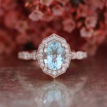 wedding photo - Vintage Floral Oval Aquamarine Engagement Ring in 14k Rose Gold Scalloped Diamond Wedding Band 8x6mm Oval Cut Gemstone Anniversary Ring