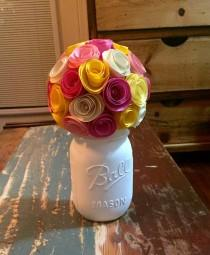 wedding photo - Spring Flower Rose Bouquet - In A Hand Painted Cream Mason Jar (pint)!
