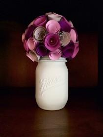 wedding photo - Rustic shades of purple and grey rose paper flower, in a hand painted mint mason jar!