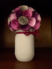 wedding photo - Rustic shades of purple paper flower bouquet in a hand painted grey mason jar!