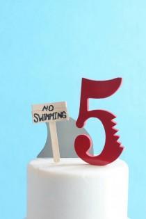 wedding photo - Shark Cake Topper Kit, No Swimming, DIY Birthday Cake, overthetopcaketopper