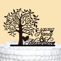 wedding photo - Rustic Wedding Cake Topper,Personalized Cake Topper,Custom Name Cake Topper,Tree Cake Topper,Wedding Cake Topper,Unique Cake Topper Wedding