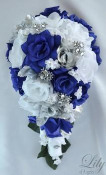 "wedding photo - 17 Piece Package Wedding Cascade Bouquet Bride Silk Flowers Bridal Bouquets Decorations Teardrop Navy BLUE SILVER ""Lily of Angeles"" BLSI01"