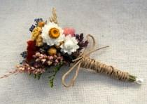 wedding photo - Romantic Montana Fall Boutonniere  Pin On or Wrist Corsage of Multi Colored Dried Flowers, Grasses and Grains by paulajeansgarden