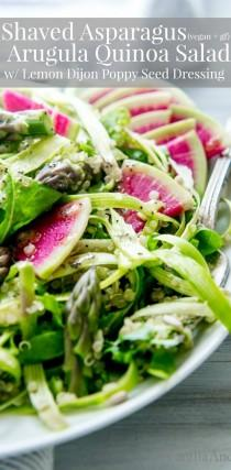 wedding photo - Shaved Asparagus, Arugula Quinoa Salad With Lemon-Dijon Poppy Seed Dressing