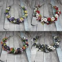 wedding photo - Bridal pink gray blue white purple yellow black green reds summer rustic gift flower crown, Wedding navy double teal side flower fall crown